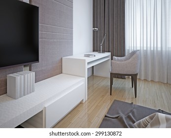 Bedroom furniture art deco style. 3D render