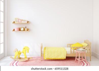 Bedroom for girl. Interior mock up. 3d render.