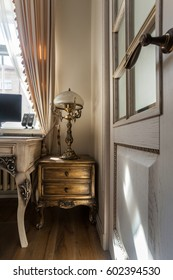 Bedroom interior with a classical work desk