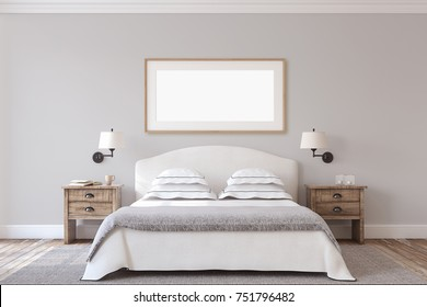 Bedroom interior in farmhouse style. Frame mock-up.3d render.