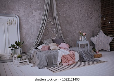 bedroom interior gray and pink, bedding, interior design, gray interior, bedroom background, interior decor, pillows and plaids, bedroom linen