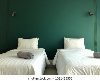 Bedroom interior with green wall