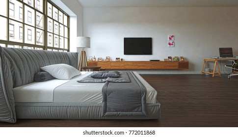 Bedroom interior with library, open space, 3d illustration
