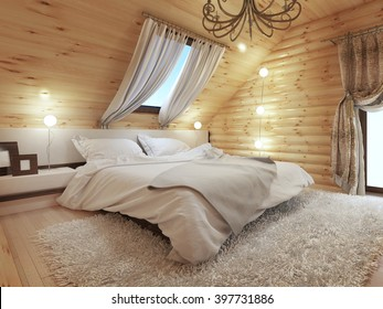Bedroom interior in a log on the attic floor with a roof window. Large room with bedside tables and a shaggy carpet. Beds in modern style. 3D render.