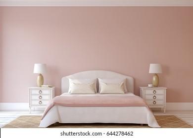 Bedroom interior. Interior mock-up. 3d render.