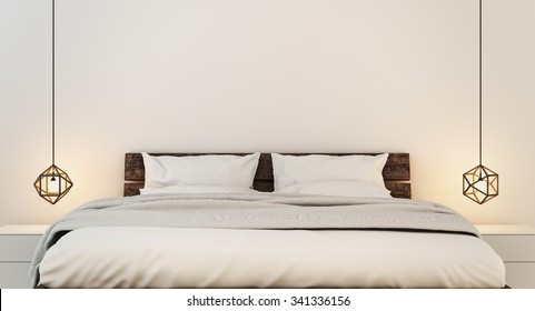 Bedroom interior for modern home and hotel bedroom / 3D render image