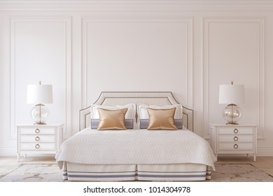 Bedroom interior in neoclassic style. 3d render.
