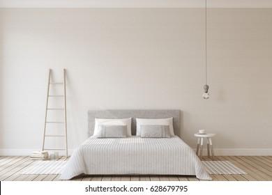 Bedroom interior in scandinavian style. Interior mock up. 3d render.
