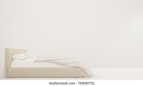 Bedroom interior space furniture 3d rendering and background white decoration - minimal style