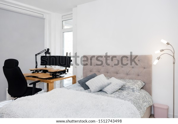 Bedroom Interior Study Corner Large Double Stock Photo (Edit ...