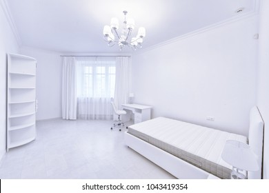 Bedroom interior in white color modern house.