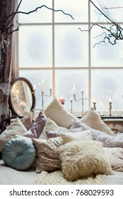 bedroom in loft room with Christmas decorations