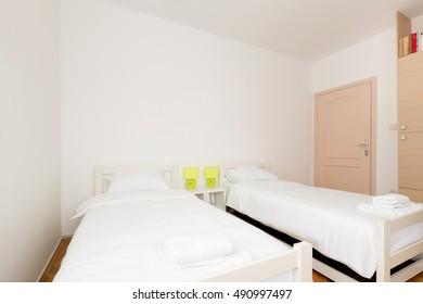 Bedroom in modern hostel
