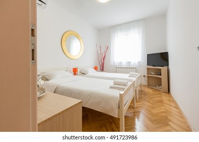 Bedroom in modern hostel