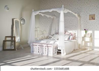 Bedroom in Provence style in loft Studio. 10.11.2019 USA, New York.