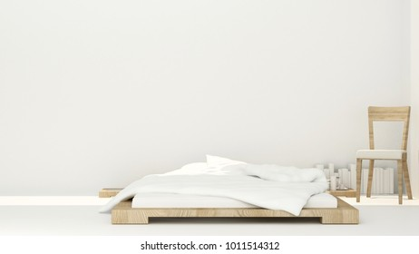 Bedroom and relax area on sunshine day for artwork room in apartment or hotel - Interior simple design - 3D Rendering