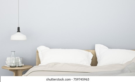 Bedroom room interior space corner of bed and Decorative wall in hotel - 3d rendering minimal style