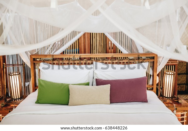 Bedroom Tropical Asian Style Colorful Pillow Stock Photo ...