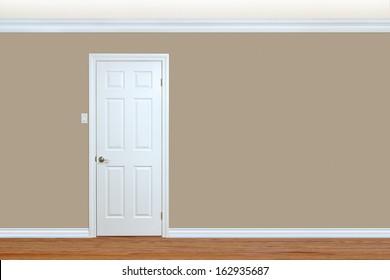 bedroom wall with door baseboard and crown molding with room for text - Bedroom Door