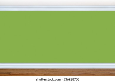 Bedroom wall painted in the Greenery color of the year 2017 with baseboard and crown molding