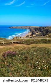 Bedruthan Steps (England), UK - August 13, 2015: Bedruthan Steps beach and coast, Cornwall, United Kingdom.