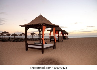 BEDS DECKCHAIRS AND UMBRELLA ON THE BEACH  SANTA MARIA  , SAL ISLAND, CAPE VERDE