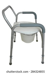 Bedside commode to be used as a raised seat over a traditional toilet, a commode outside the bathroom, or a shower chair.