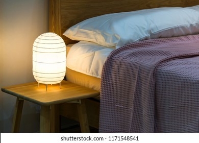 Bedside paper table bed lamp Japan style with cozy bedroom interior