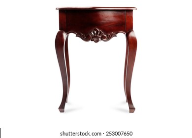 bedside table isolated on a white background, wood carving, mahogany