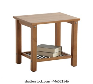 Bedside table isolated on white background. Include clipping path