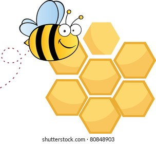 Bee Cute Cartoon Character Flying In Front Of A Orange Bee Hives.Raster illustration . Vector version is also available