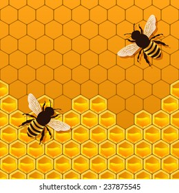 bee honeycomb background -  illustration