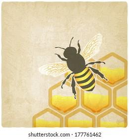 bee honeycomb old background -  illustration