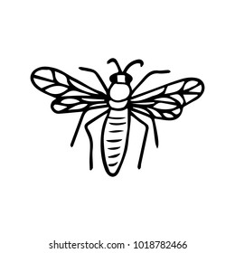 Bee icon illustration. Doodle style. Design, print, decor, textile, paper