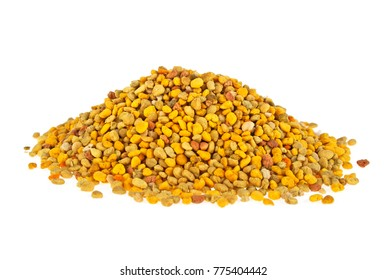 Bee pollen grains on a white background. Healthy natural medicine for influenza.
