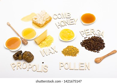 Bee products collected on a white background and labeled