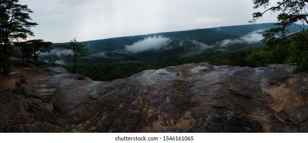 Bee Rock Overlook in Putnam County, Tennessee on a rainy and foggy day.
