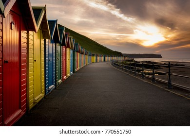 Beech huts at Whitby in the North Yorkshire at sunset