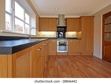 Beech kitchen in bungalow UK