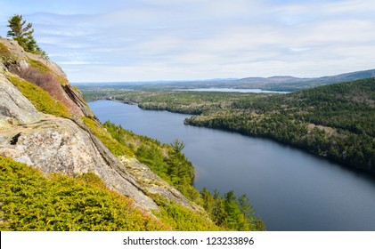 Beech Mountain overlook of Echo Lake at Acadia National Park in Maine