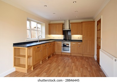 Beech style luxury kitchen in UK home