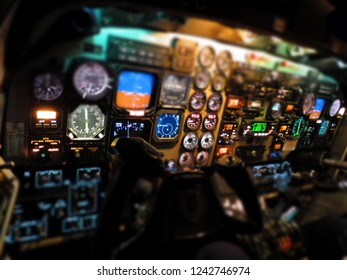 Beechcraft 1900D cockpit at night