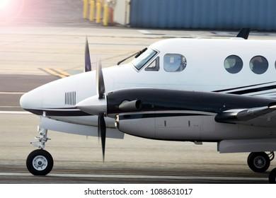 Beechcraft King Air Is Taking Off At Santa Monica Airport, California