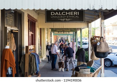 Beechworth, Australia - April 30, 2018: Dalcheri Sustainable Fashion shop in Beechworth. Dalcheri sells Australian sustainable and ethical clothing.