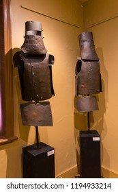 Beechworth, Australia - April 30, 2018: Replica suits of armour of the Kelly Gang in the Ned Kelly Vault museum in Beechworth.