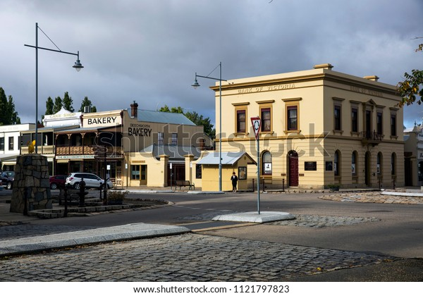 BEECHWORTH, VICTORIA, AUSTRALIA - 26 MARCH 2018: The historic gold rush town of Beechworth and its historic buildings are a drawcard for tourists and weekenders alike.