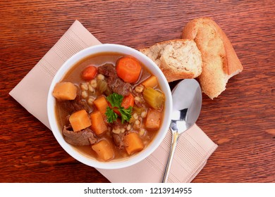 Beef with barley soup is a hearty meal fill with healthy root vegetables of the season