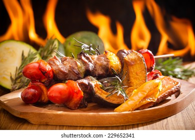 Beef bbq on wood with fire