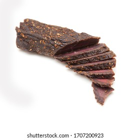 Beef Biltong isolated on a white background.