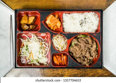 Beef Bulgogi in Lunch Box, Traditioal Korean Food